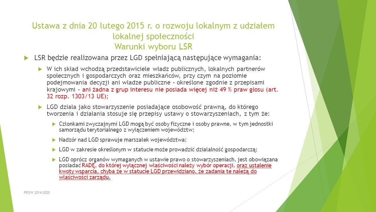 Ustawa z dnia 20 lutego 2015 r. o rozwoju lokalnym z udziałem lokalnej społeczności Warunki wyboru LSR