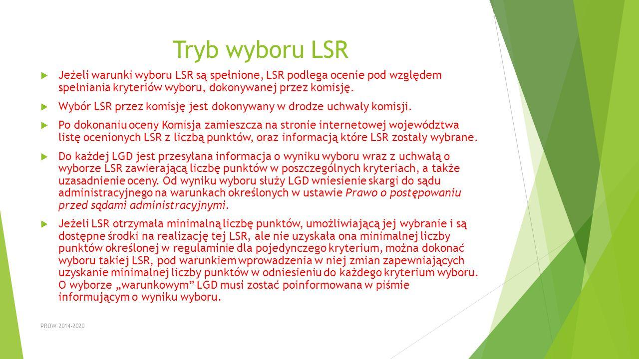 Tryb wyboru LSR Jeżeli warunki wyboru LSR są spełnione, LSR podlega ocenie pod względem spełniania kryteriów wyboru, dokonywanej przez komisję.