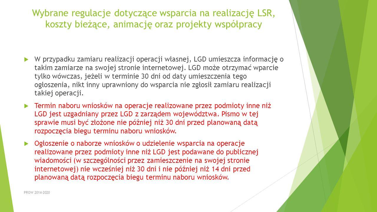 Wybrane regulacje dotyczące wsparcia na realizację LSR, koszty bieżące, animację oraz projekty współpracy