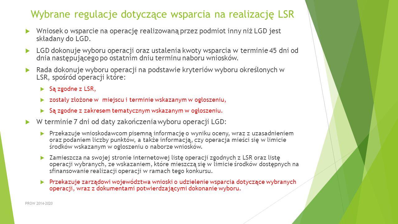 Wybrane regulacje dotyczące wsparcia na realizację LSR