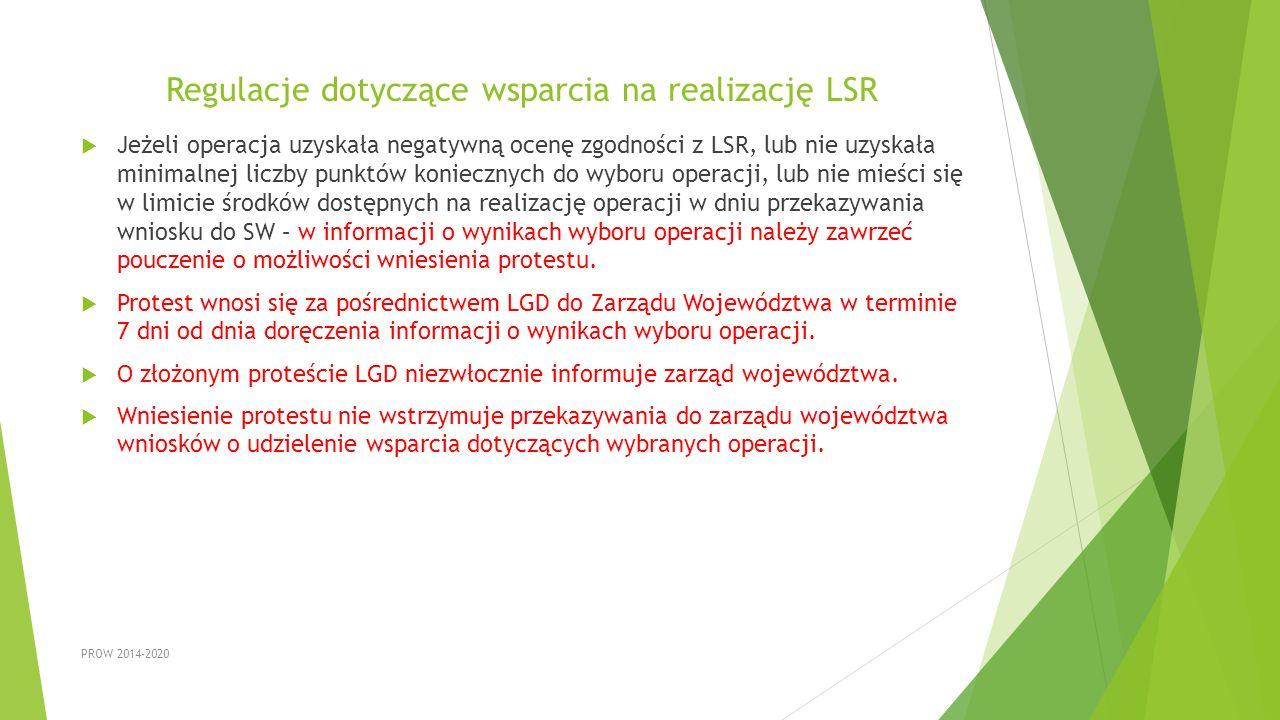 Regulacje dotyczące wsparcia na realizację LSR