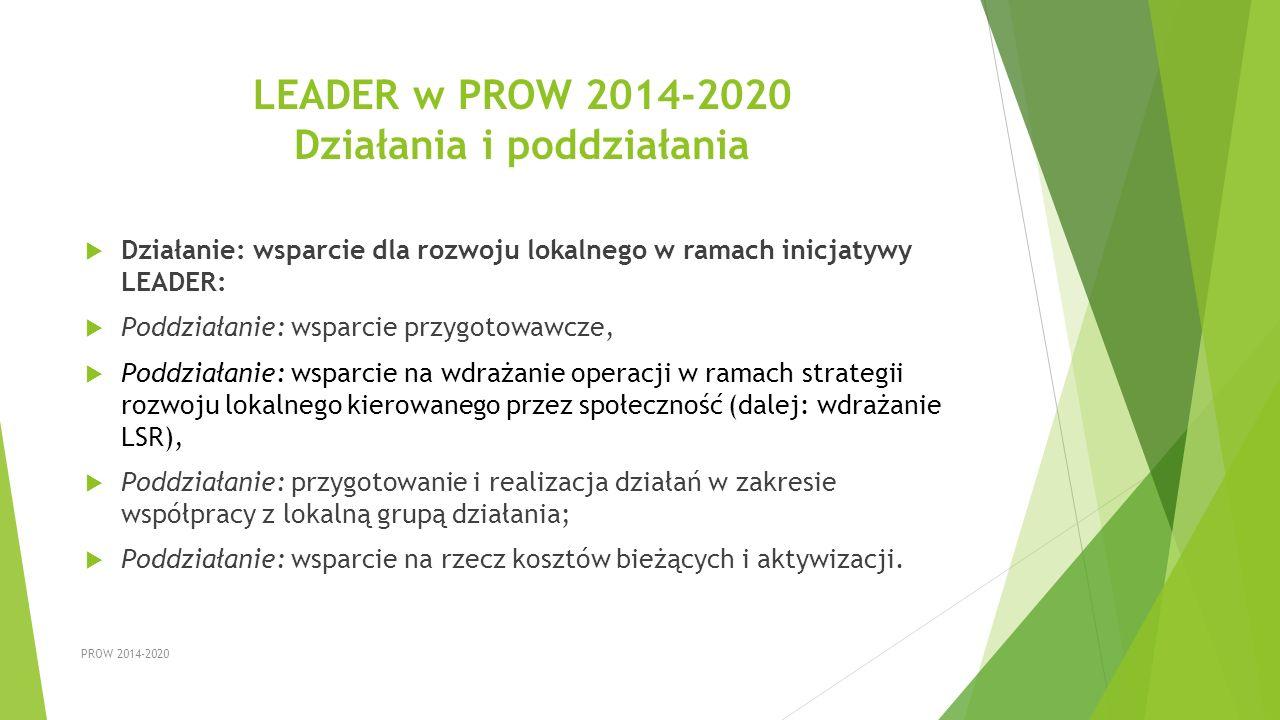 LEADER w PROW 2014-2020 Działania i poddziałania