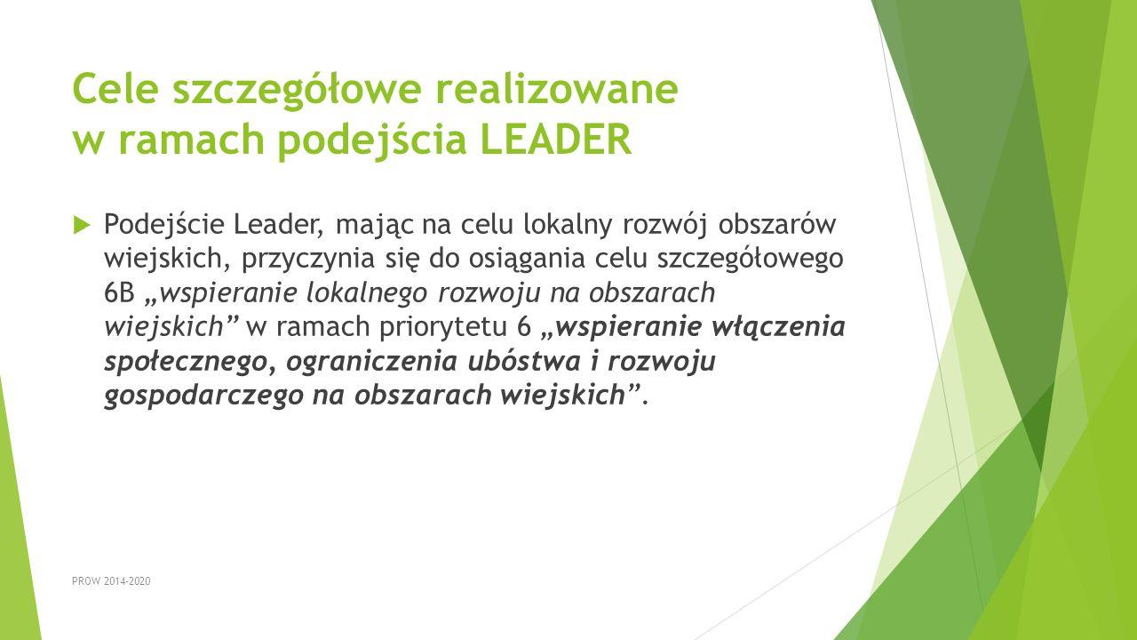 Cele szczegółowe realizowane w ramach podejścia LEADER
