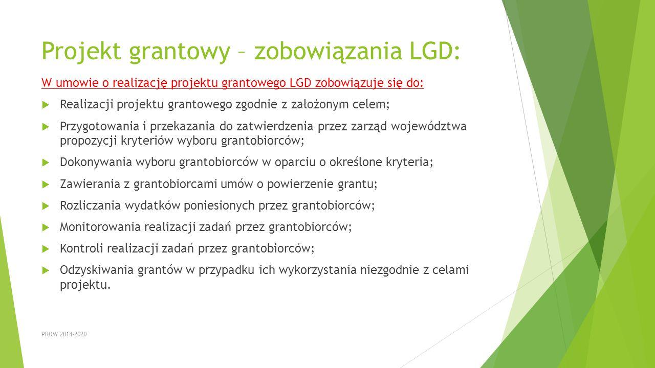 Projekt grantowy – zobowiązania LGD: