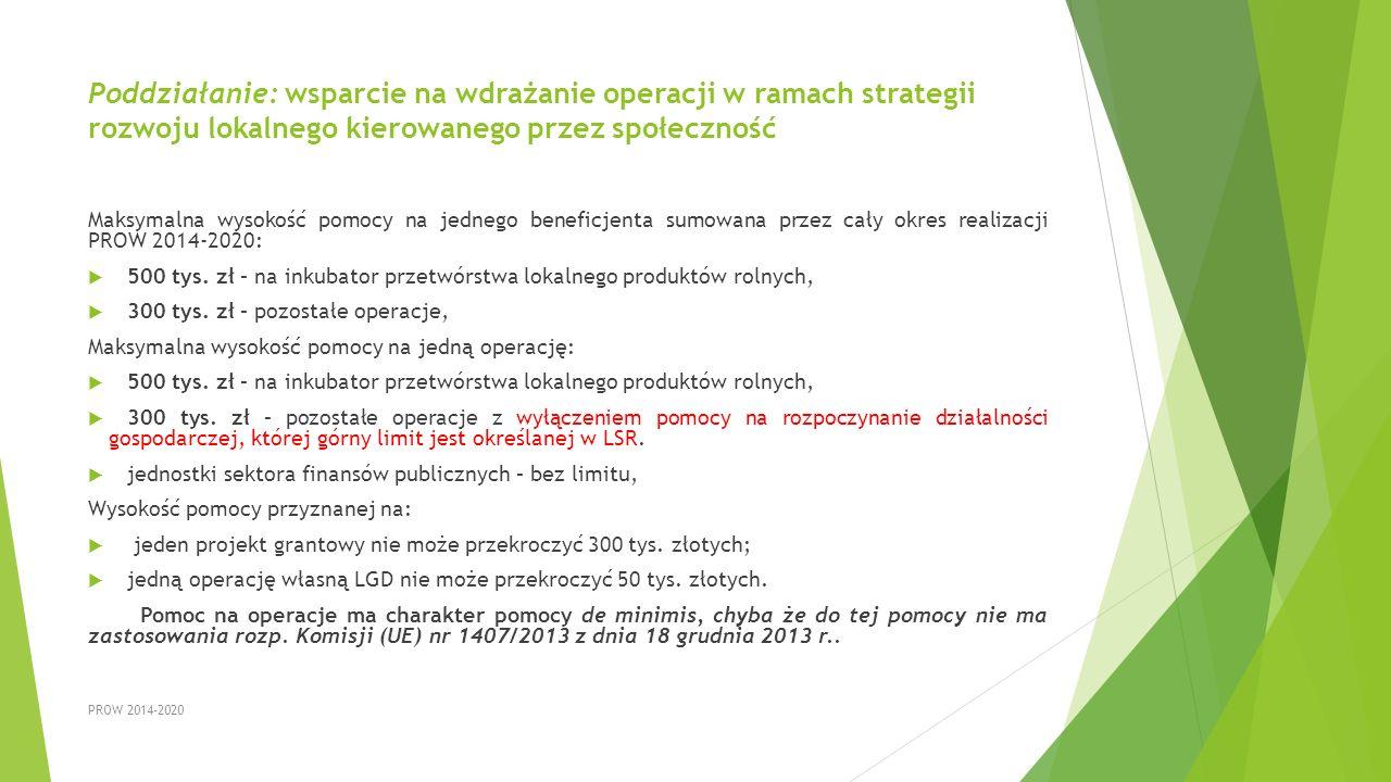 Poddziałanie: wsparcie na wdrażanie operacji w ramach strategii rozwoju lokalnego kierowanego przez społeczność
