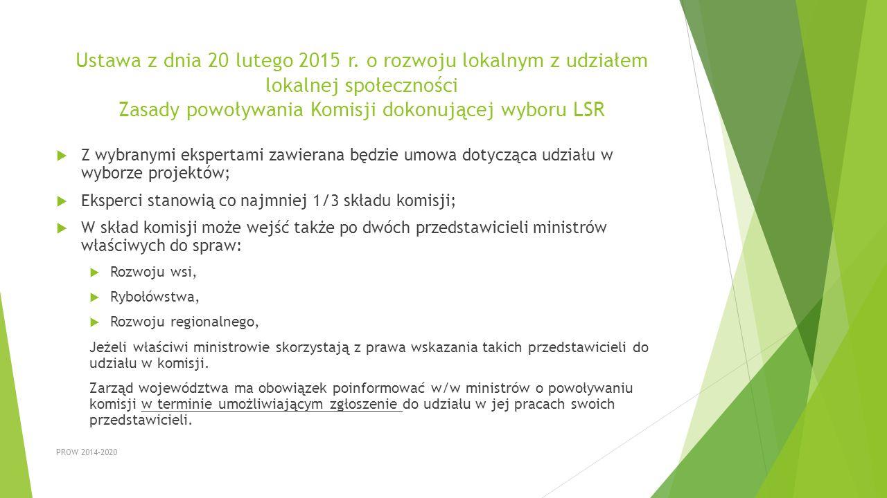 Ustawa z dnia 20 lutego 2015 r. o rozwoju lokalnym z udziałem lokalnej społeczności Zasady powoływania Komisji dokonującej wyboru LSR