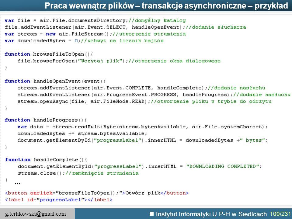 Praca wewnątrz plików – transakcje asynchroniczne – przykład
