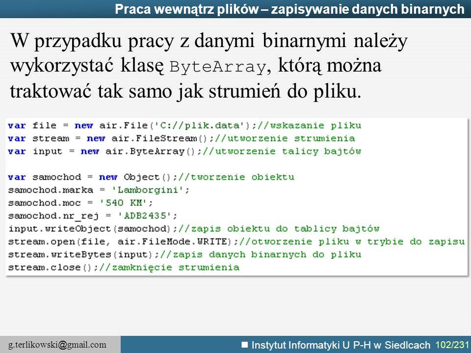 Praca wewnątrz plików – zapisywanie danych binarnych