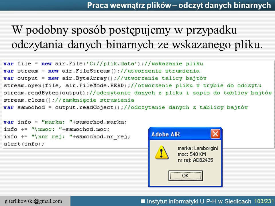 Praca wewnątrz plików – odczyt danych binarnych