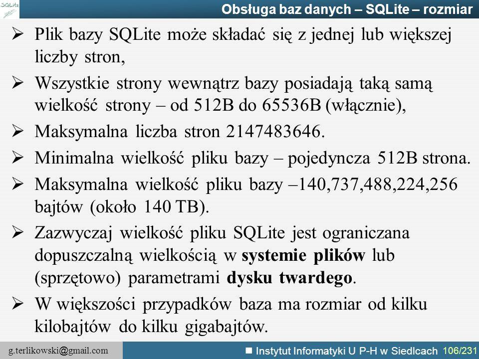 Plik bazy SQLite może składać się z jednej lub większej liczby stron,