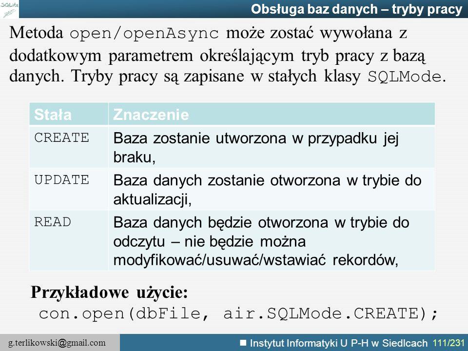 con.open(dbFile, air.SQLMode.CREATE);