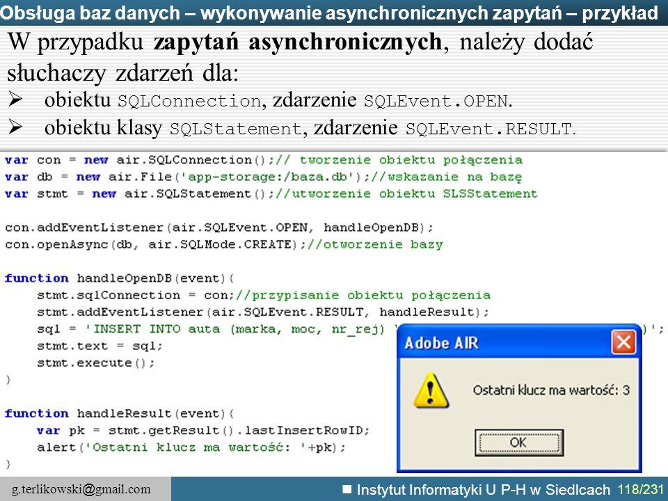 Obsługa baz danych – wykonywanie asynchronicznych zapytań – przykład