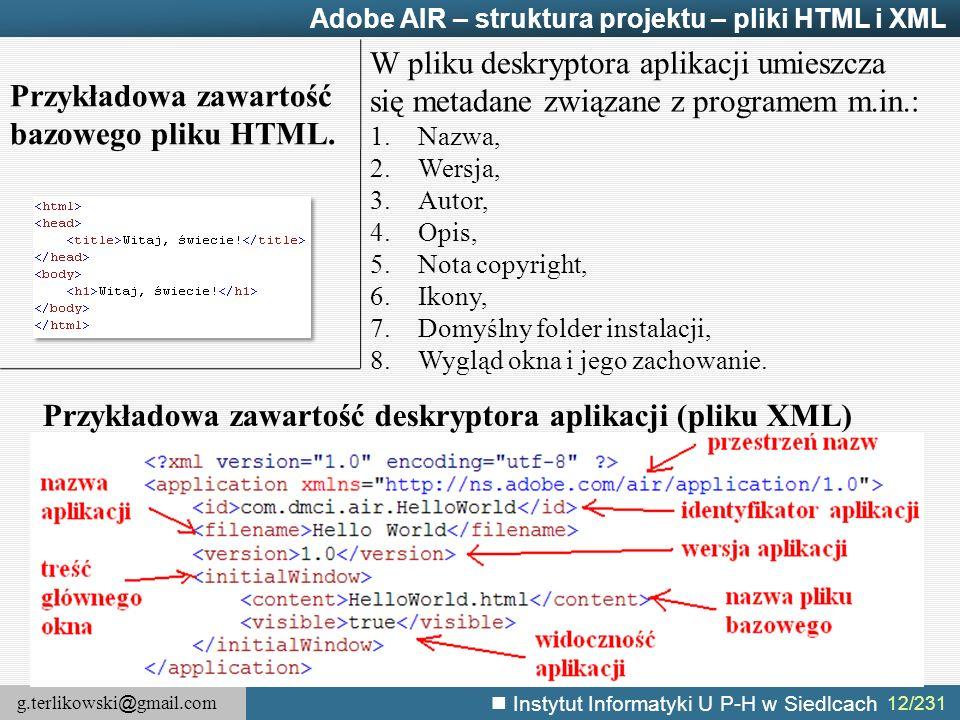 Przykładowa zawartość bazowego pliku HTML.