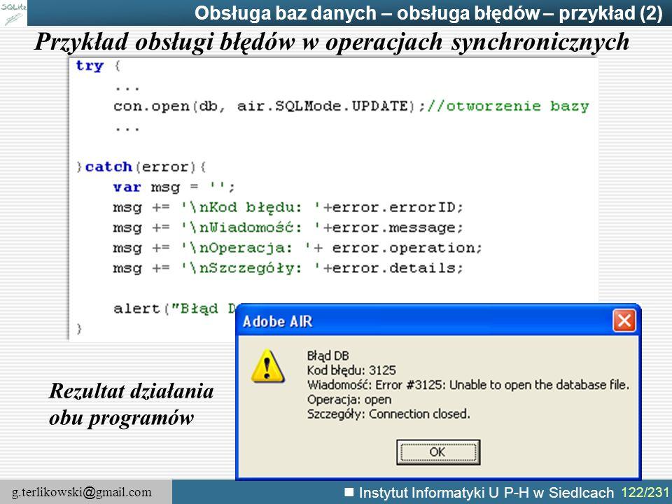 Przykład obsługi błędów w operacjach synchronicznych