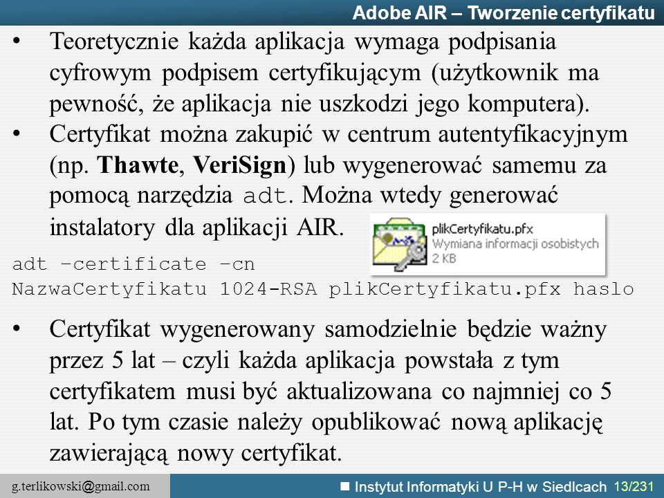 Adobe AIR – Tworzenie certyfikatu