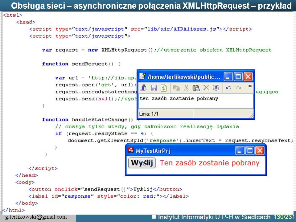 Obsługa sieci – asynchroniczne połączenia XMLHttpRequest – przykład