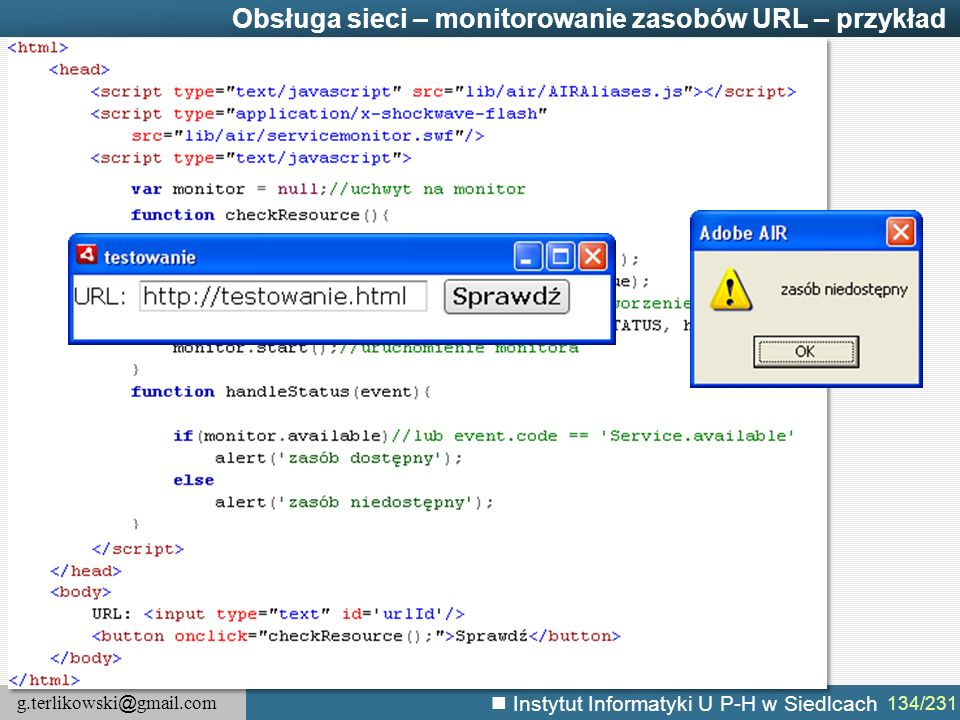 Obsługa sieci – monitorowanie zasobów URL – przykład