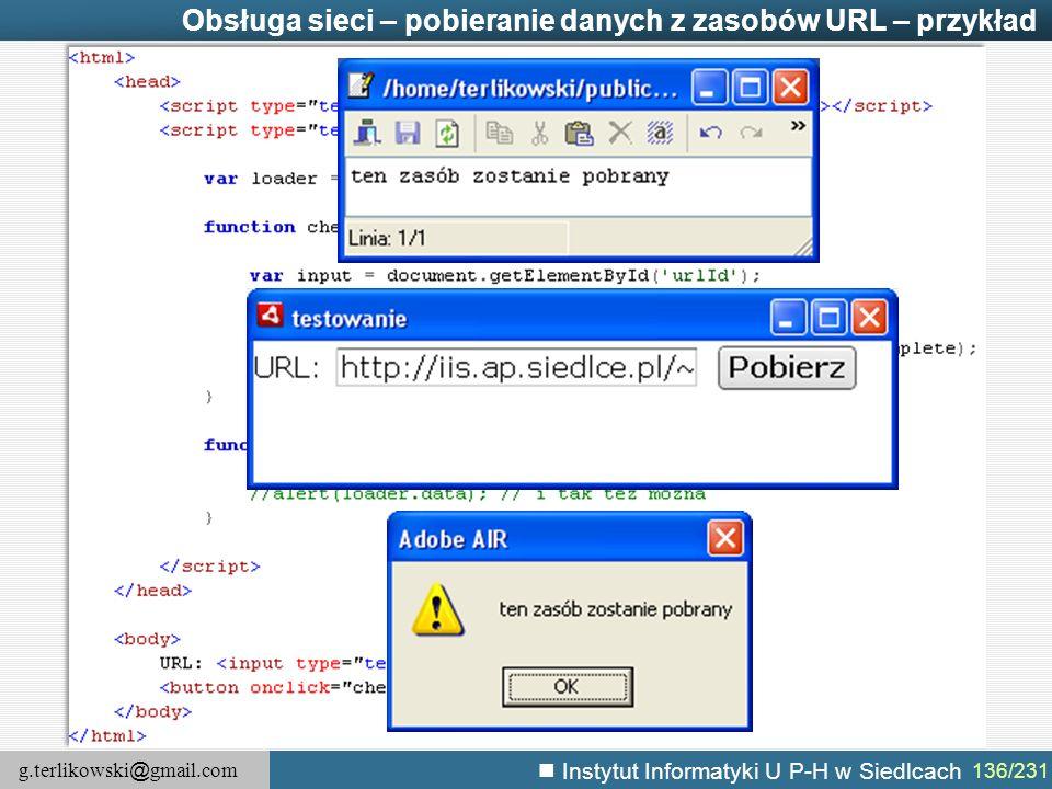 Obsługa sieci – pobieranie danych z zasobów URL – przykład