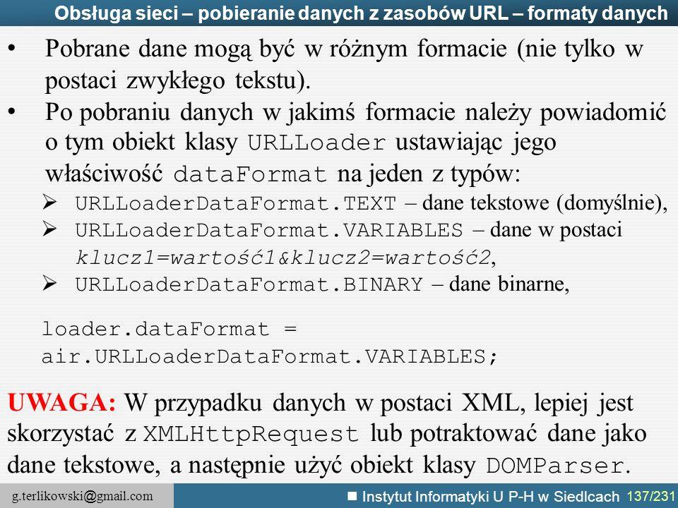 Obsługa sieci – pobieranie danych z zasobów URL – formaty danych