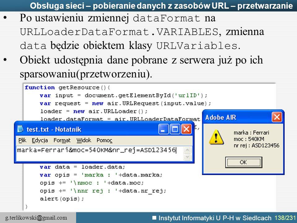 Obsługa sieci – pobieranie danych z zasobów URL – przetwarzanie