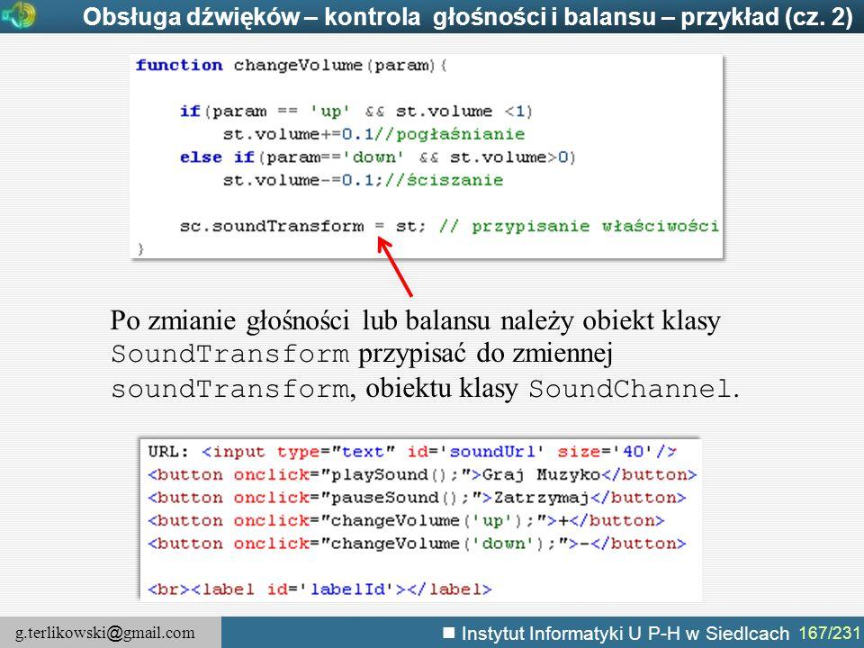 Obsługa dźwięków – kontrola głośności i balansu – przykład (cz. 2)