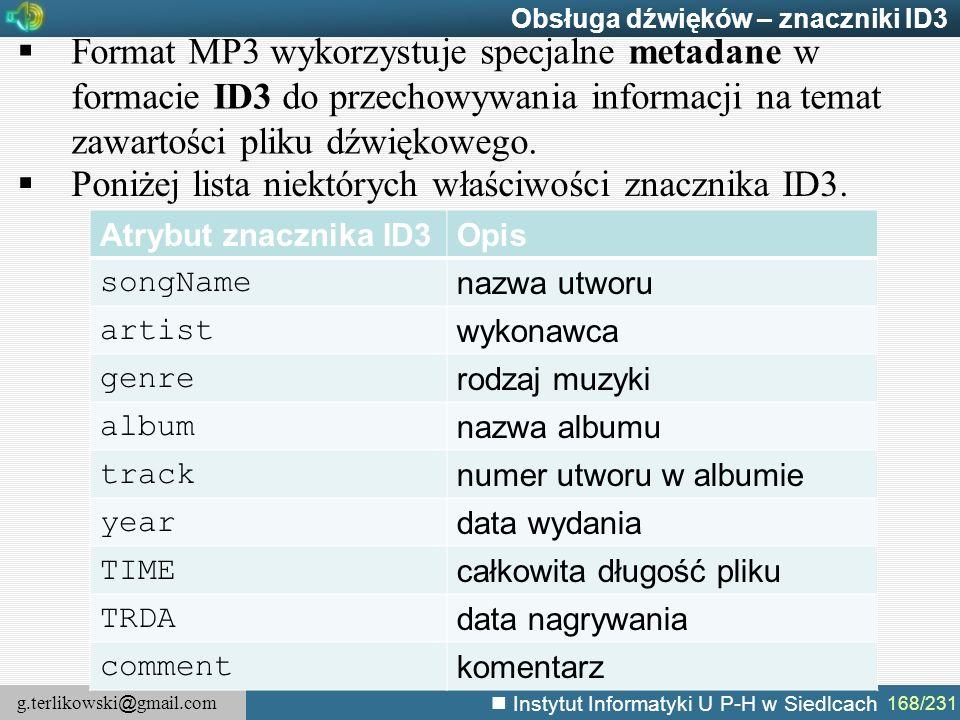 Poniżej lista niektórych właściwości znacznika ID3.
