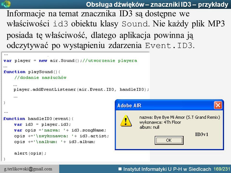 Obsługa dźwięków – znaczniki ID3 – przykłady