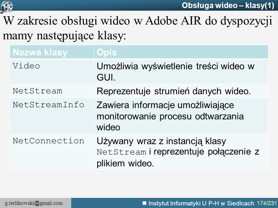 Obsługa wideo – klasy(1)