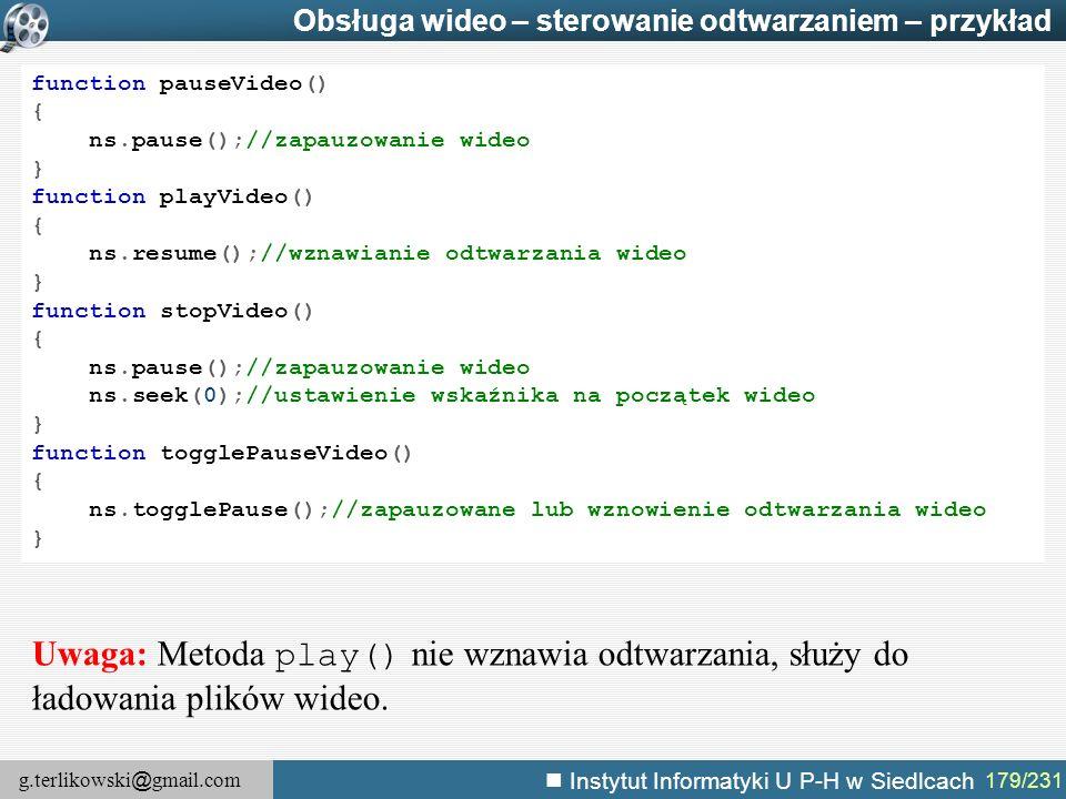 Obsługa wideo – sterowanie odtwarzaniem – przykład