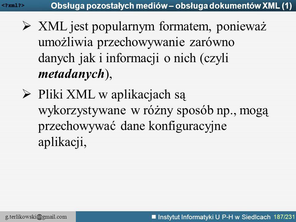 Obsługa pozostałych mediów – obsługa dokumentów XML (1)