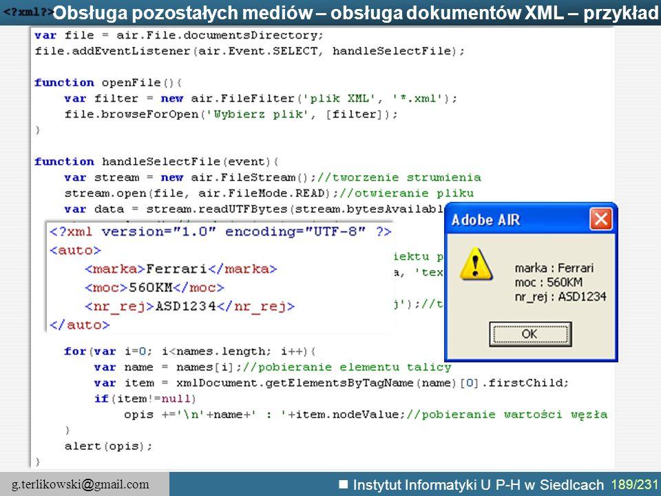 Obsługa pozostałych mediów – obsługa dokumentów XML – przykład