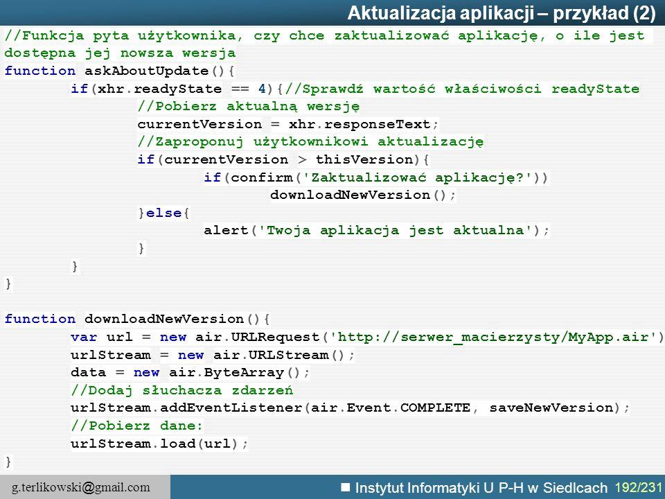 Aktualizacja aplikacji – przykład (2)