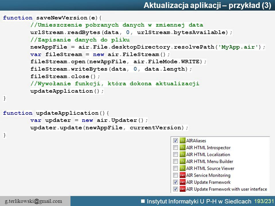 Aktualizacja aplikacji – przykład (3)