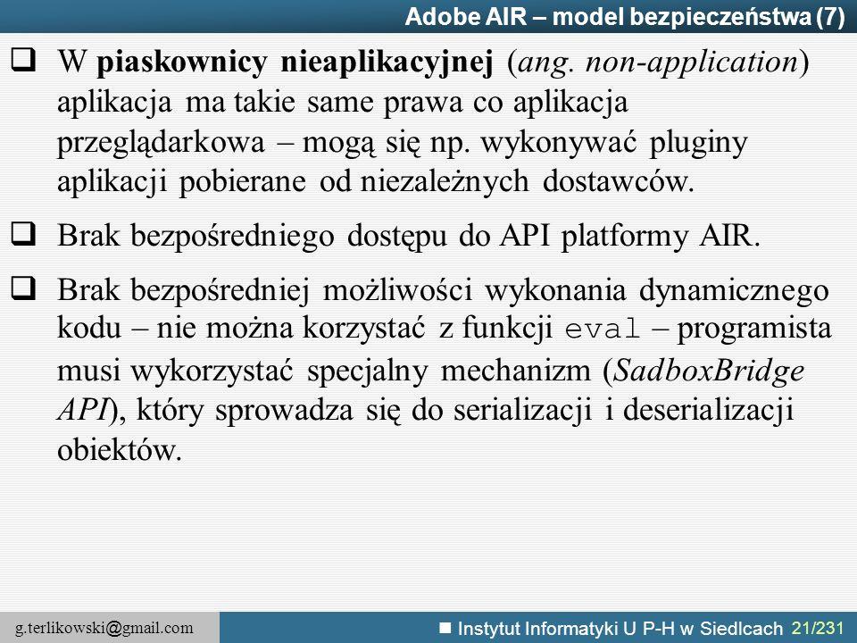 Brak bezpośredniego dostępu do API platformy AIR.
