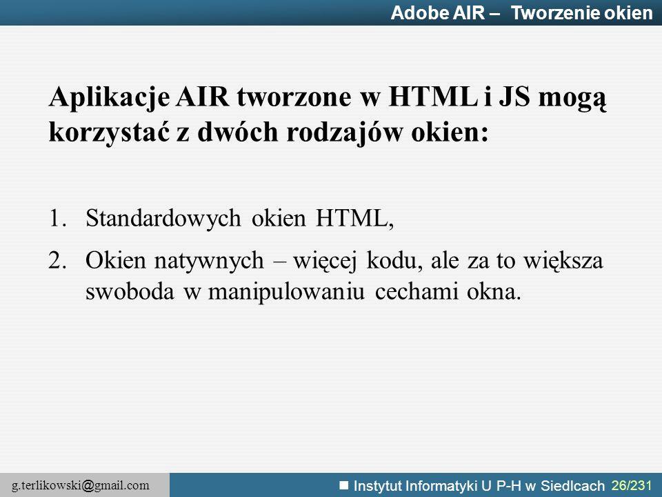 Adobe AIR – Tworzenie okien