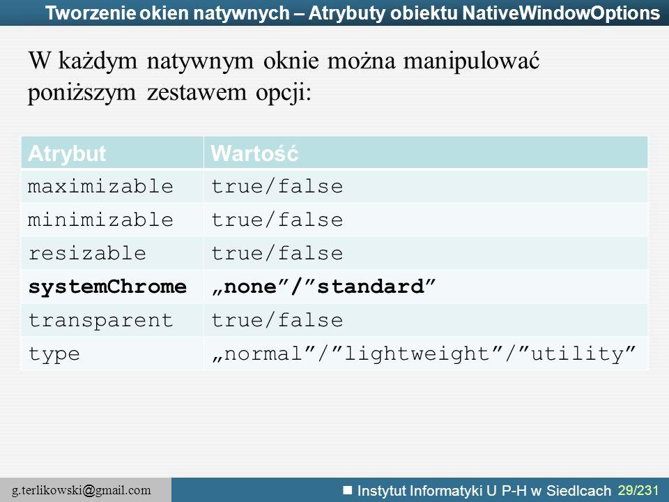 W każdym natywnym oknie można manipulować poniższym zestawem opcji: