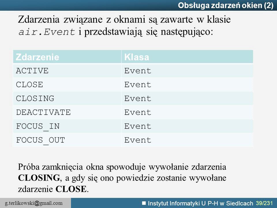 Obsługa zdarzeń okien (2)