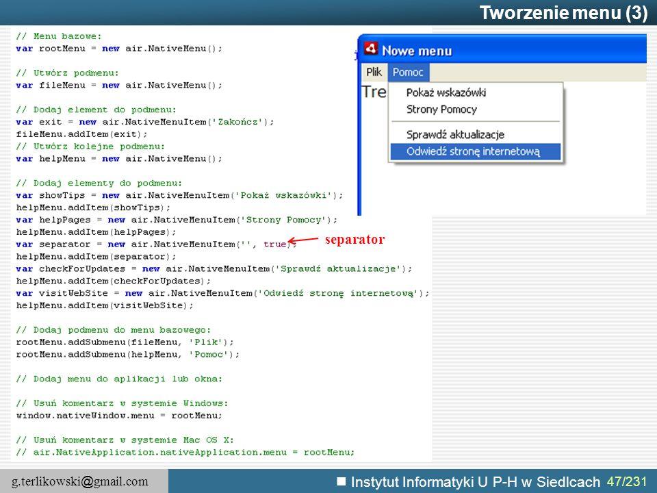 Tworzenie menu (3) separator