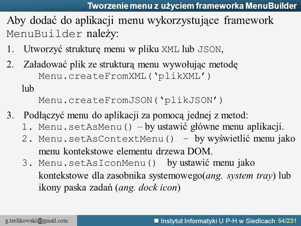 Tworzenie menu z użyciem frameworka MenuBuilder
