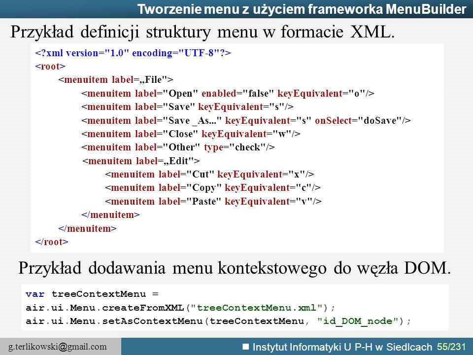 Przykład definicji struktury menu w formacie XML.