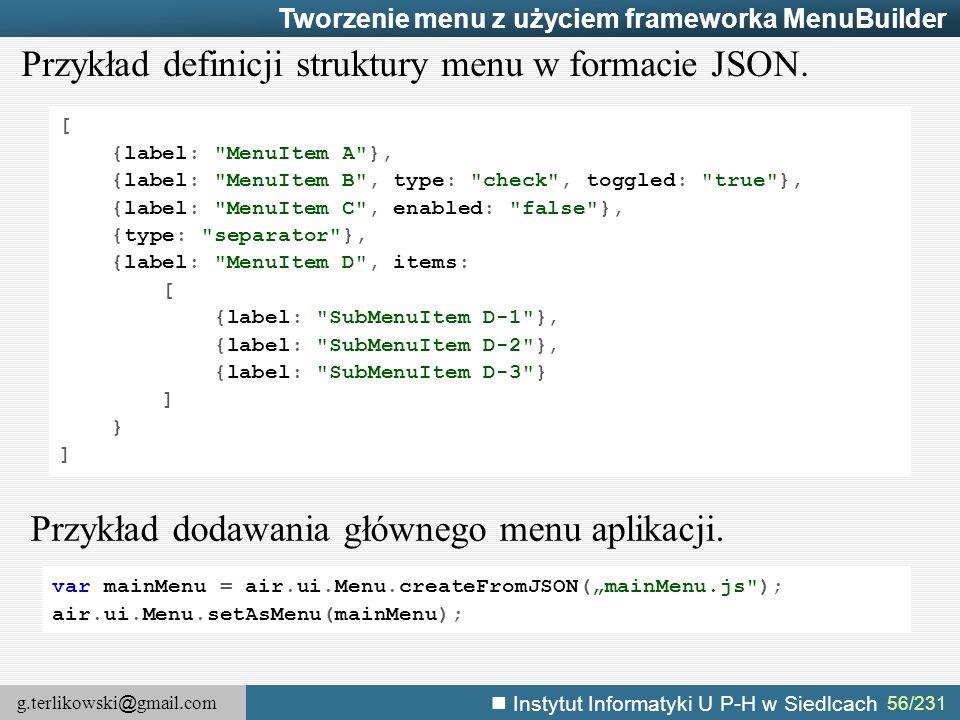 Przykład definicji struktury menu w formacie JSON.