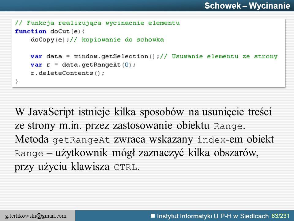 Schowek – Wycinanie