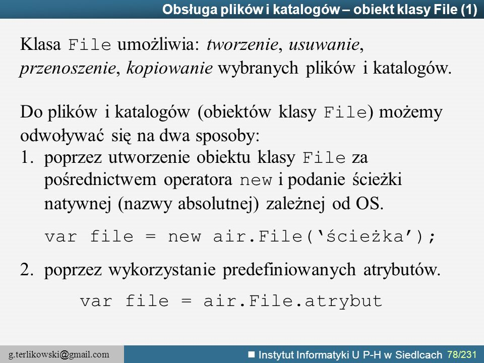 var file = new air.File('ścieżka');