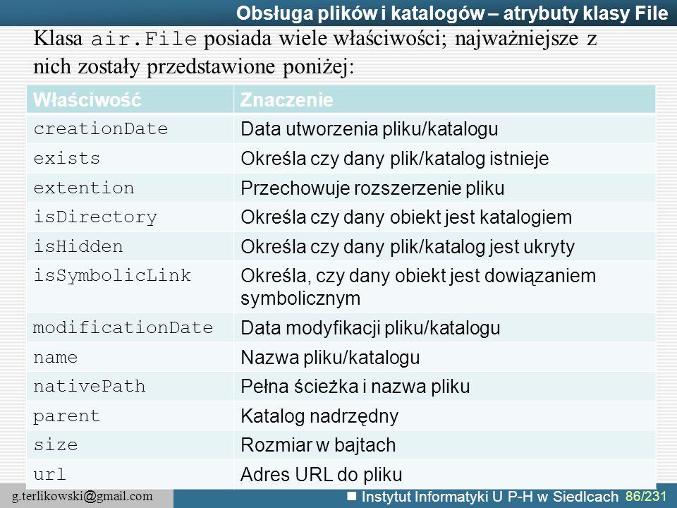 Obsługa plików i katalogów – atrybuty klasy File