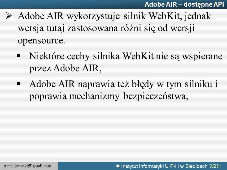 Niektóre cechy silnika WebKit nie są wspierane przez Adobe AIR,