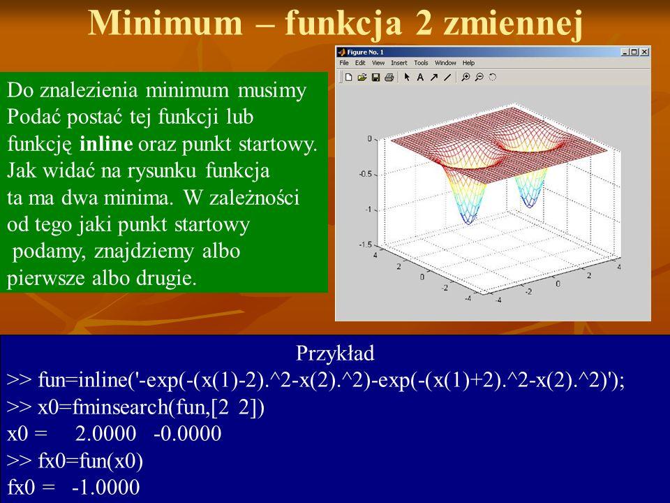 Minimum – funkcja 2 zmiennej