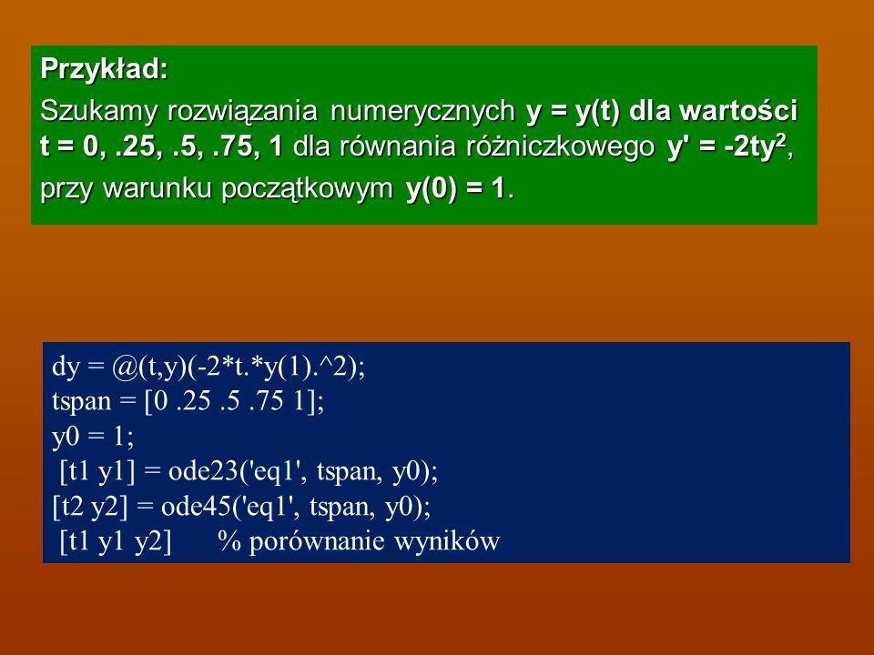 Przykład: Szukamy rozwiązania numerycznych y = y(t) dla wartości t = 0, .25, .5, .75, 1 dla równania różniczkowego y = -2ty2, przy warunku początkowym y(0) = 1.