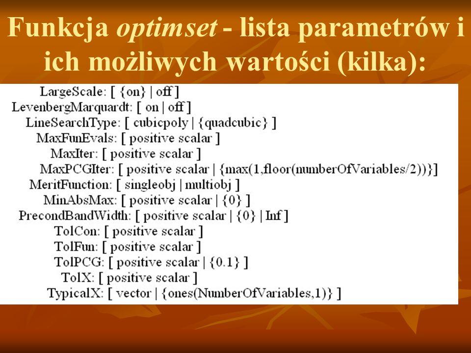 Funkcja optimset - lista parametrów i ich możliwych wartości (kilka):