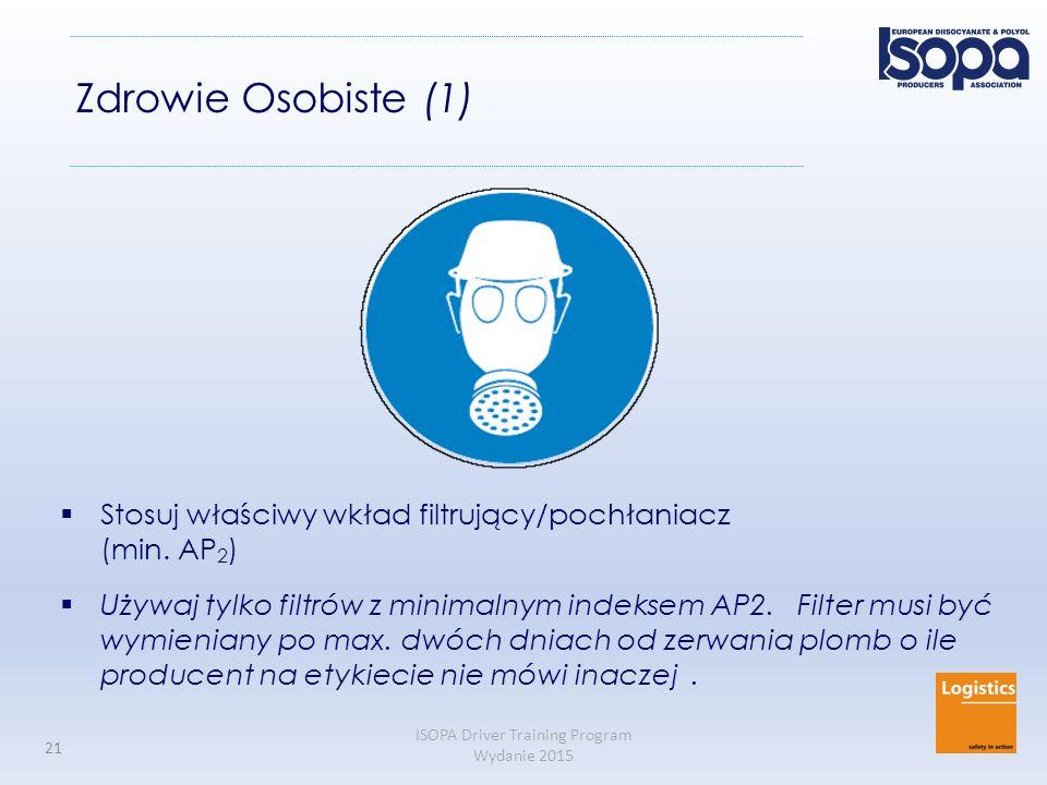 Zdrowie Osobiste (1) Stosuj właściwy wkład filtrujący/pochłaniacz (min. AP2)