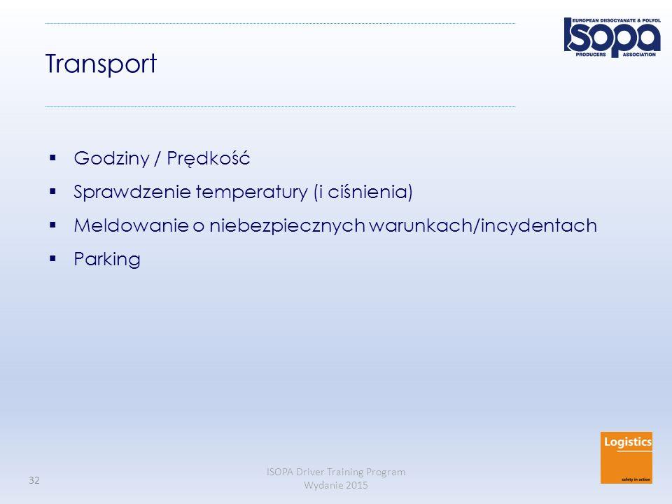 Transport Godziny / Prędkość Sprawdzenie temperatury (i ciśnienia)
